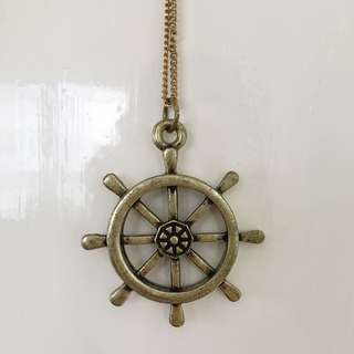 Brassy Gold Nautical Wheel Necklace