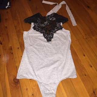 Black And Grey Body Suit With Lace And Tie Up Back!