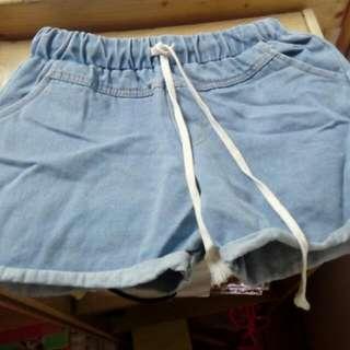 韓版縮邊綁繩短褲