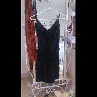 Belted Tulip Dress - Black