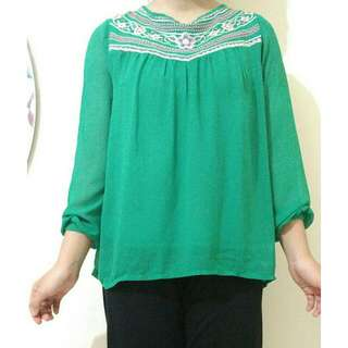 Greeny Chiffon Top