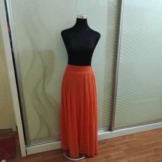 Orange Long Skirt
