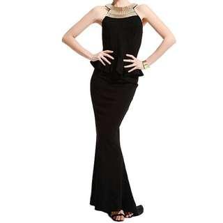 MAX NEGIO Formal Long Fish Tail Black Dress