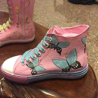 全新 蝴蝶帆布鞋存錢筒