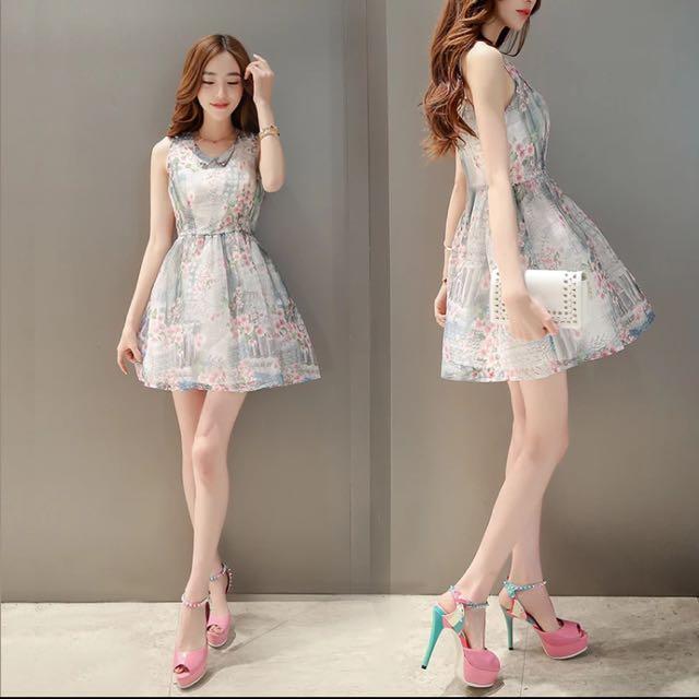 2016夏季新款女裝韓版甜美可愛娃娃領印花無袖公主洋裝