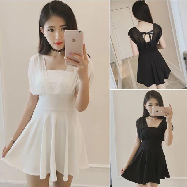 2016夏新款韓國雪紡拼接V領裹胸後背綁帶高腰顯瘦荷葉邊洋裝