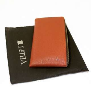 Letha Leather Travel Wallet - Saffiano Brown