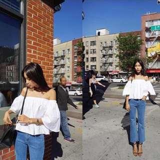 [現貨黑/白] 正韓 韓國製 一字領 喇叭袖 寬鬆 娃娃裝 白 黑 藍