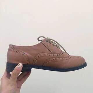 韓 粉色牛津鞋 23.5