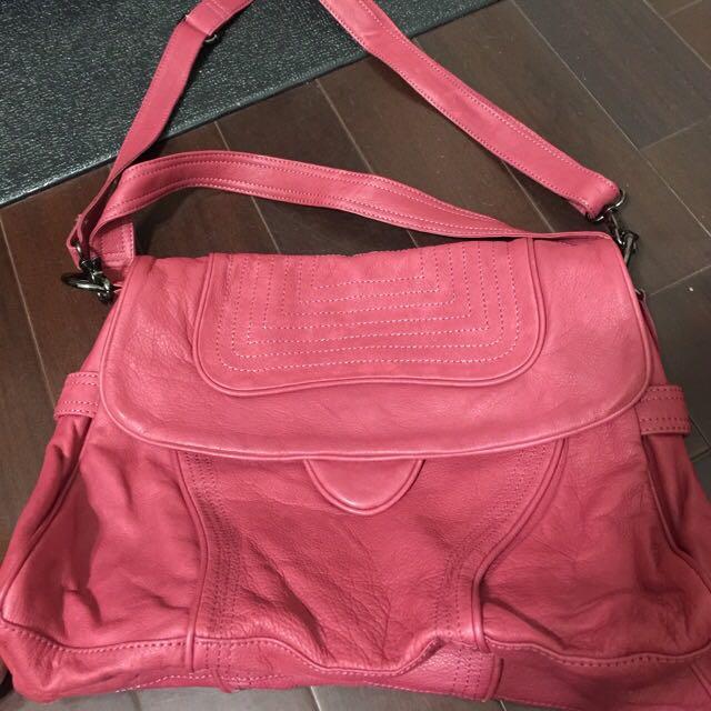 正韓品牌紫莓色真皮2用提包可斜背可換物