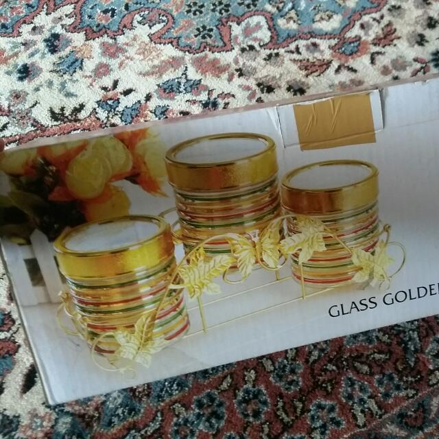 3 Pcs Glass Golden Storage Jar Rack Set (Gampangnya Toples Kue)