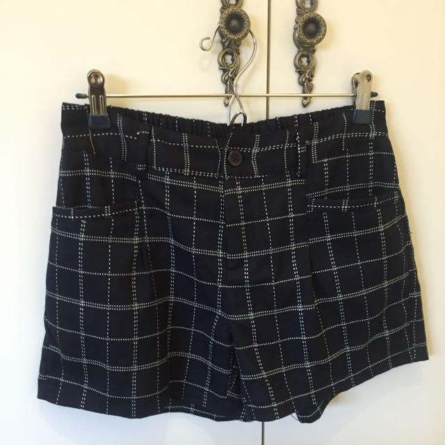 優雅格紋鬆緊短褲