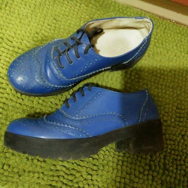 寶藍色 牛津 雕花短靴 37號 (適合23-23.5)