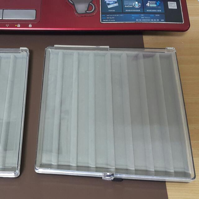 二手 透明掀蓋絨布鋼筆收納盒 展示盒 筆盤 筆架