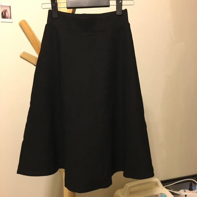 黑色 高腰圓裙 挺布 S到L號女生都可以穿!