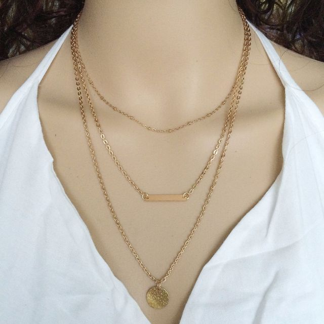 BRAND NEW - Gold Plated 3 Layers Charm Chain Pendant Necklace
