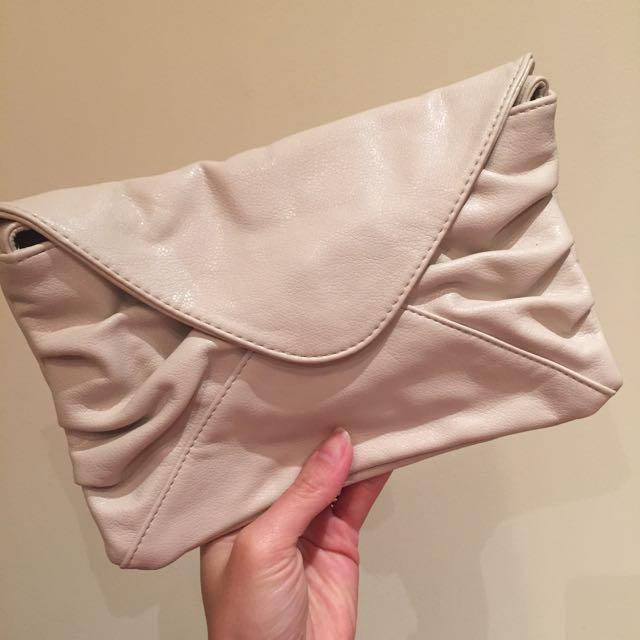 Brand New Beige Clutch With Shoulder Strap