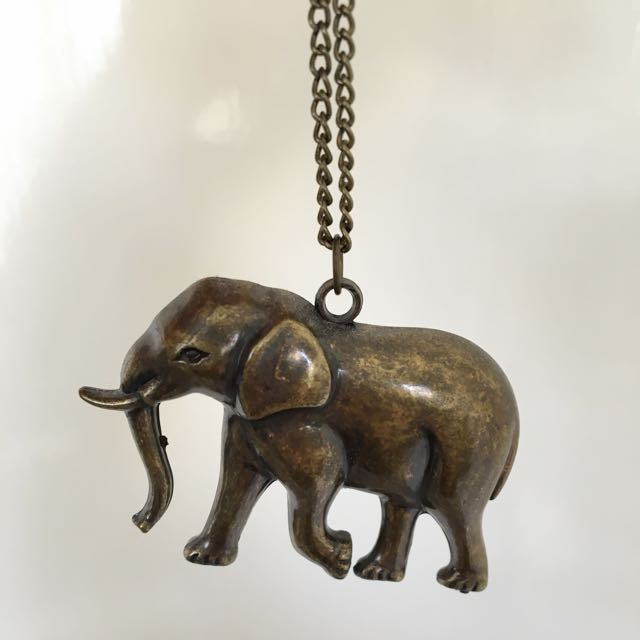 Brass Gold Elephant Necklace