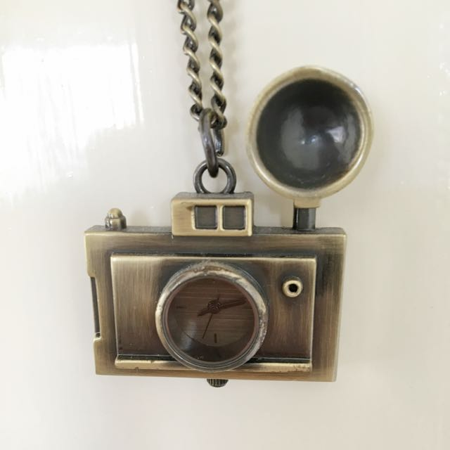 Brassy Gold Camera Clock Necklace ASOS