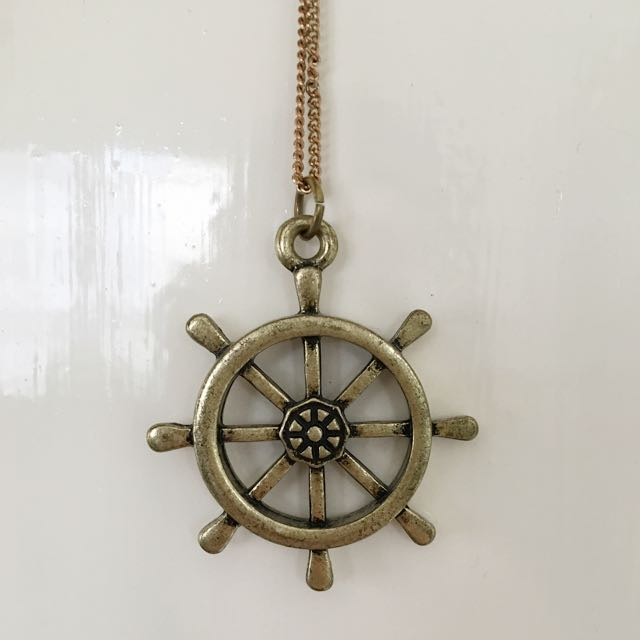 Brassy Gold Nautical Wheel Necklace