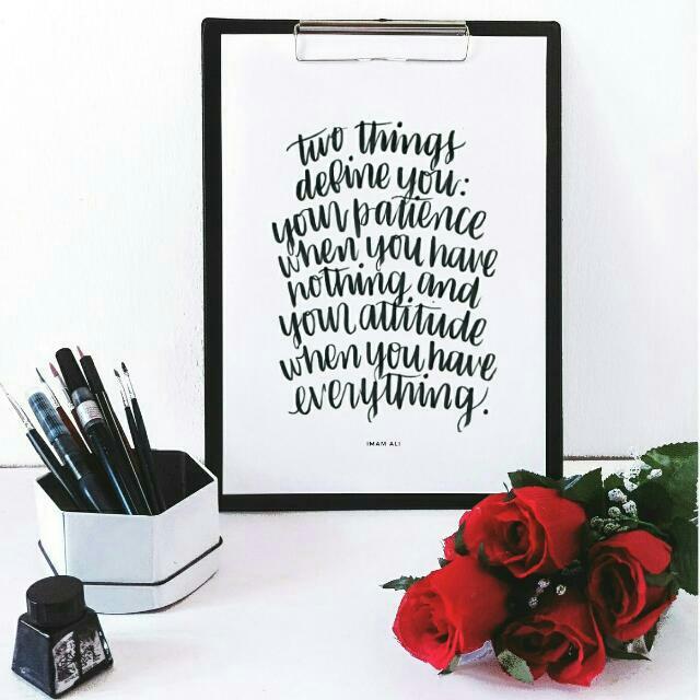 Brush Lettering Print (Patience & Attitude)