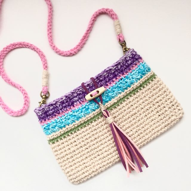Crochet Boho Style Sling Bag in Candy Colors