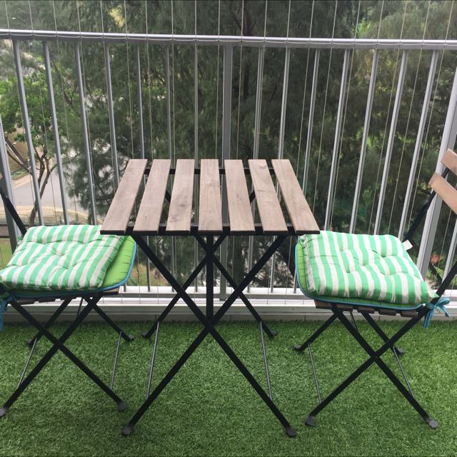 Reserved Ikea Balcony Table And Chairs Furniture On Carousell
