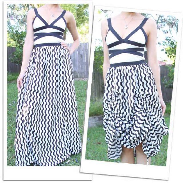 Monochrome Bandage Hi-Lo Maxi Dress 6