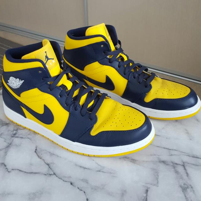 Nike Air Jordans Yellow And Dark Navy Us Size 12