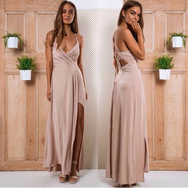 Nude Wrapped Stelly Maxi Dress 8