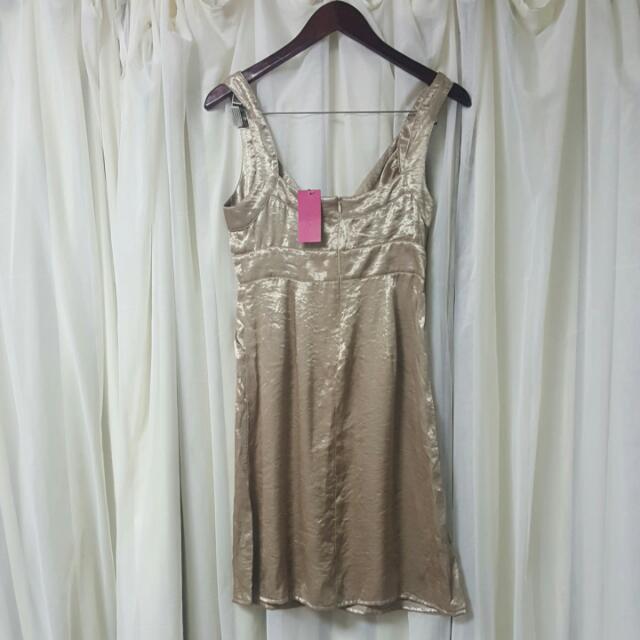 Pilgrim Satin Dress In Gold