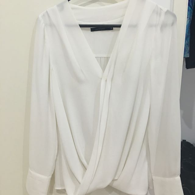 Portmans White Wrap Top Long Sleeve