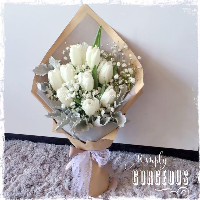 Pretty Rustic Fresh Flower Bouquets @ $65 (Tulip, Dusty Miller ...