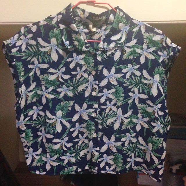 Queen Shop 熱帶花卉短版襯衫
