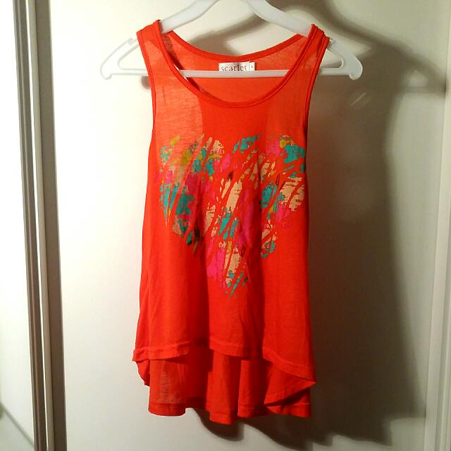 SCARLET orange Love Singlet