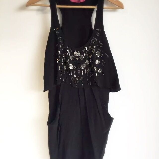 Seduce Beaded Y Back Silk Dress Size 8