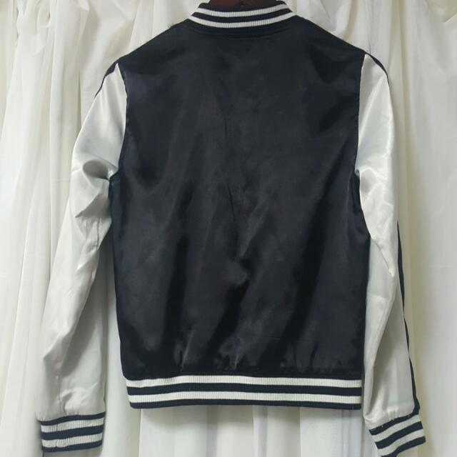 Sportsgirl Satin Bomber Jacket In Black and White