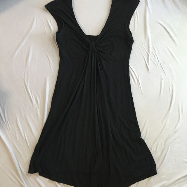 V Neck Black Dress