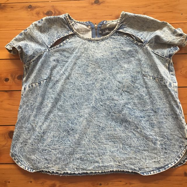 XS I Like Wolves Denim Look Cropped Tee