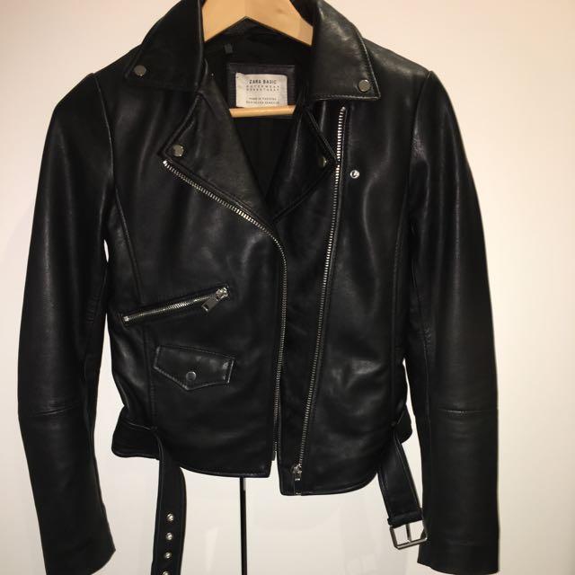 Zara Genuine Leather Biker Jacket Xs