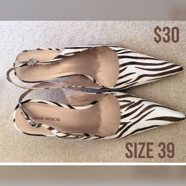 Zebra Faux Fur Print Shoes Size 39