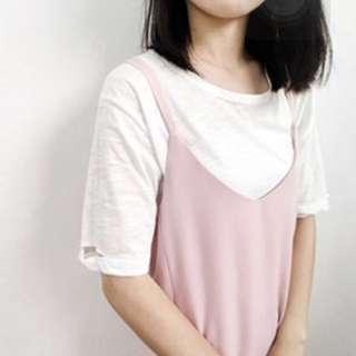 全新轉賣。韓系 嫩粉色滑料交叉背心連身裙 洋裝