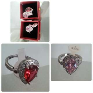 Ruby Red and Baby Pink 925 Rings