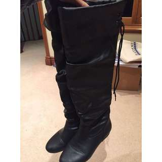 Black Knee High Boots Size 7