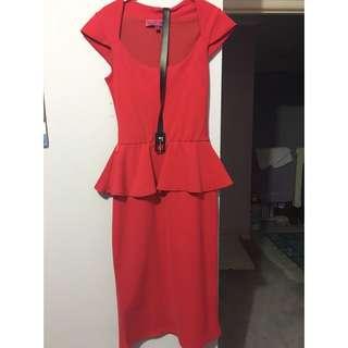 Boohoo Red Peplum Dress