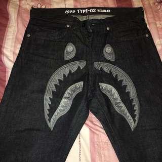 BAPE 鯊魚單寧褲 灰鯊 窄版