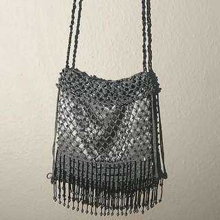 Satin Beaded Evening Bag