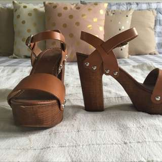 Leather Forever New Heels S39