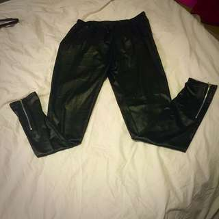 Size L Fake Leather Tights