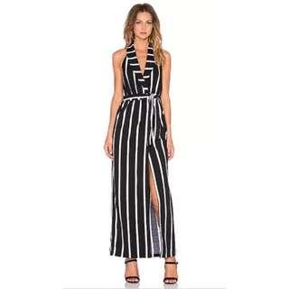 Elliatt Wrap Stripe Maxi Dress Tuxedo